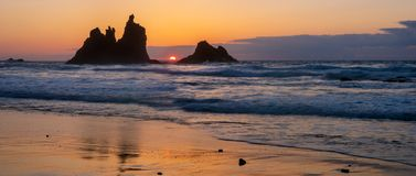 Romantic and at the same time dramatic sunset on Benijo beach in. Tenerife stock image