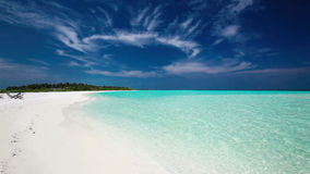 Romantic sandy beach with amazing lagoon in Maldives stock footage