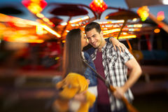 Romantic scene in amusement park  - shoot with lensbaby Royalty Free Stock Photo