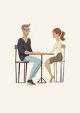 Romantic scene with a couple in love. Young man and woman at the table. Vector illustration. Stock Image