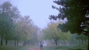 Romantic scene of couples foggy day on the road. The general outline of the autumn landscape. The guy and the girl walk on the nature. Ukraine stock video footage