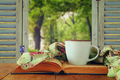 Romantic scene of cup of coffee next to old book in front of cou. Ntryside view outside of the old rustic window. vintage filtered and toned Royalty Free Stock Photo