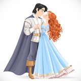 Romantic scene of a fabulous brunette prince and princess kiss Stock Images