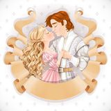Romantic scene of a fabulous prince and princess kiss save the date card Royalty Free Stock Photography