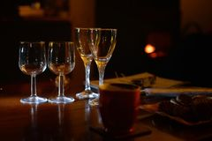 Romantic scene with glasses ready for party Stock Images