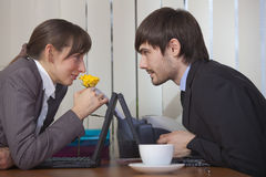 Romantic scene in office Royalty Free Stock Photo