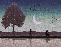 Romantic scene painted on fabric. Scene of a couple in a romantic scene at dusk, painted on raw linen Stock Image