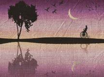 Romantic scene painted on fabric royalty free illustration