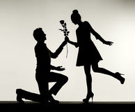 Romantic scene of the proposal Royalty Free Stock Photos