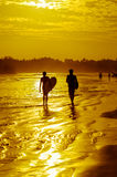Romantic scenery of Weligama beach with amazing sunset. Sri Lanka Stock Images