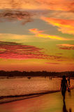 Romantic scenery of Weligama beach with amazing sunset Stock Photos