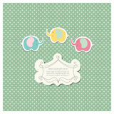 Romantic scrap booking template for invitation, greeting, baby shower card, happy birthday label, postcard frame or. Child album. Vector illustration Royalty Free Stock Images