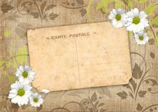 Romantic scrapbook background with postcard Royalty Free Stock Photo