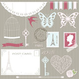 Romantic scrapbook design elements set. Scrapbook design elements and silhouettes set. Girly Royalty Free Stock Photos
