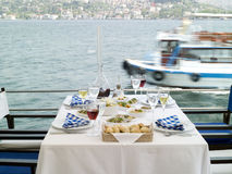 Romantic  sea side restaurant at Bosphorus istanbu Royalty Free Stock Photography