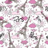 Romantic seamless eiffel tower Paris background. Eiffel tower, Paris, love. Seamless pattern with romantic hearts for invitations, clothing, travel, cards Stock Photo
