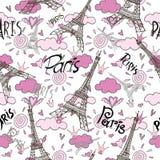 Romantic seamless eiffel tower Paris background Stock Photo