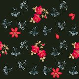 Romantic seamless floral pattern with stylized umbrella flowers, red roses and lilies isolated on black background in vector. Print for fabric. Wrapping design royalty free illustration