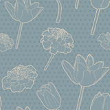 Romantic seamless floral vintage japanese blue tulip-marigold pattern Royalty Free Stock Images