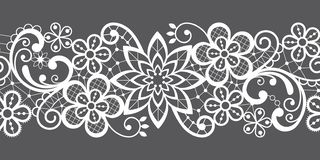 Romantic seamless lace vector pattern, decorative textile or embroidery design in white on gray background stock illustration
