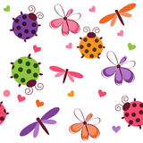 Romantic seamless pattern. With dragonflies, ladybugs, hearts and flowers on a white background Royalty Free Stock Images