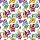 Romantic seamless pattern background with rose peonies daisy flowers birds and cages watercolor gouache illustration vector illustration