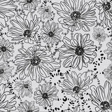 Romantic seamless pattern with beautiful daisy flo. Wers. Vector in the style of hand-drawn printing on fabric, wallpaper and more. Easily edited. Vector royalty free illustration