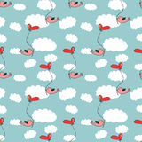 Romantic seamless pattern with birds Stock Photography