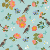 Romantic seamless pattern with birds, butterflies and flowers Royalty Free Stock Photos