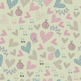 Romantic seamless pattern with birds, flowers, hea Royalty Free Stock Photography