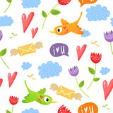Romantic seamless pattern with birds, hearts, flowers, clouds, s Stock Images