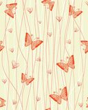 Romantic seamless pattern with butterflies vector Royalty Free Stock Images