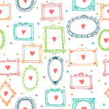 Romantic seamless pattern with colorful frames and hearts Stock Image