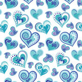 Romantic seamless pattern with colorful hand draw hearts.  Blue hearts on white background. Vector illustration Royalty Free Stock Photos