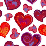 Romantic seamless pattern with colorful hand draw hearts.  Bright hearts on white background. Vector illustration Royalty Free Stock Image