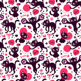 Romantic seamless pattern with cute playful kittens Royalty Free Stock Photography