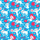 Romantic seamless pattern with cute playful kittens Stock Photo