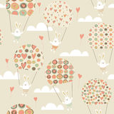 Romantic seamless pattern with cute rabbits Stock Photos