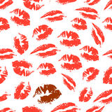 Romantic seamless pattern with elements of a kiss, lips, smile. Print of lipstick. Romantic seamless pattern with elements of a kiss, lips, smile. Seamless Stock Image
