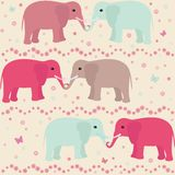 Romantic seamless pattern with elephants. Flowers and hearts vector illustration