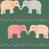 Seamless pattern with elephants and hearts Royalty Free Stock Photos