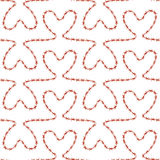 Romantic seamless pattern. Endless ornament with red hearts on white backdrop. Valentines day or wedding background for fabric, wrapping, packaging paper Stock Photos