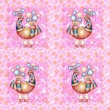 Romantic seamless pattern with fantasy birds on floral background Royalty Free Stock Photo