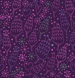 Romantic seamless pattern with flowers and hearts. Royalty Free Stock Photo