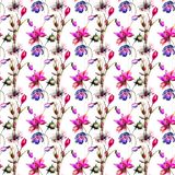 Romantic seamless pattern with flowers. Watercolor painting Stock Photo
