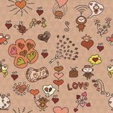 Romantic seamless pattern with funny elements Royalty Free Stock Image