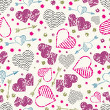 Romantic seamless pattern with grunge hearts and arrows. Vector illustration Stock Image