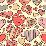 Romantic seamless pattern heart doodles Stock Images