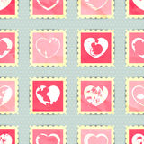 Romantic seamless pattern with heart stamps Royalty Free Stock Images