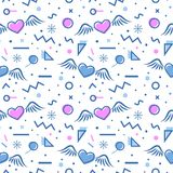 Hearts seamless pattern in memphis style. Royalty Free Stock Photos